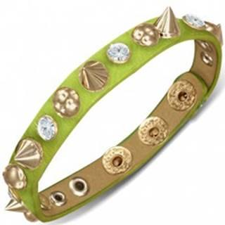 Kožený náramok - zelený prúžok s polguľami, špicami a zirkónmi