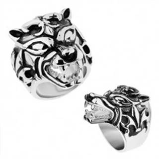 Masívny prsteň z ocele 316L, vypuklý patinovaný vlk, Fleur de Lis - Veľkosť: 57 mm