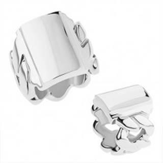 Mohutný prsteň z chirurgickej ocele s motívom reťaze, lesklý obdĺžnik - Veľkosť: 55 mm