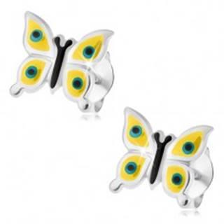 Náušnice, striebro 925, žltý motýlik, čierno-modré bodky, puzetové zapínanie