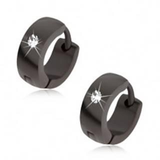 Náušnice z ocele čiernej farby, lesklý a hladký povrch, číry kamienok
