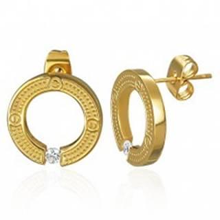Oceľové náušnice - kruh so vsadeným zirkónom, puzetky
