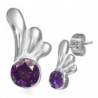 Oceľové náušnice - puzetky s fialovým očkom a krídlom anjela