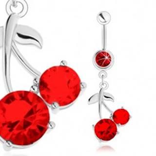Oceľový piercing do brucha, strieborný odtieň, červené čerešne, lesklé lístky