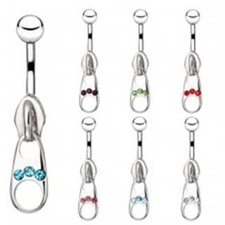 Oceľový piercing do bruška - ozdobný zips so zirkónmi - Farba zirkónu: Aqua modrá - Q