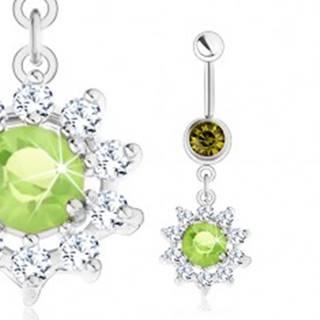 Oceľový piercing do bruška, strieborná farba, kvet - zelený zirkón, číre lupene