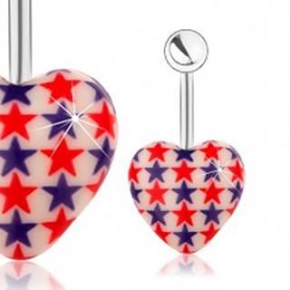 Oceľový piercing do pupka, gulička, biele srdce, červené a modré hviezdy