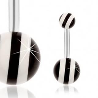 Oceľový piercing do pupka, strieborná farba, lesklé čierno-biele guličky