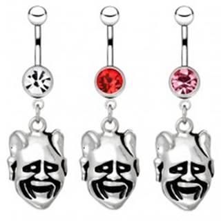 Oceľový piercing do pupku - usmiata tvár čerta - Farba zirkónu: Červená - R