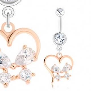 Oceľový piercing, strieborný a zlatý odtieň, obrys srdca, zirkónový motýlik