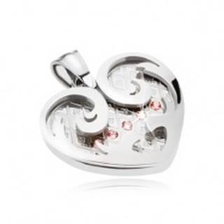 Oceľový prívesok, srdce s ornamentmi v striebornej farbe, ružové zirkóny
