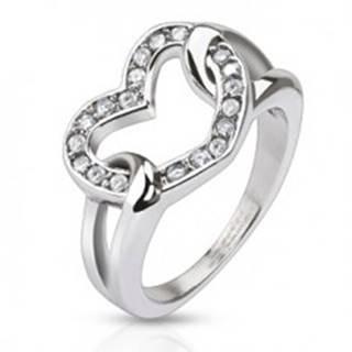 Oceľový prsteň - lesklé zirkónové srdce v slučkách - Veľkosť: 49 mm