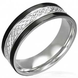 Oceľový prsteň s čiernymi pásmi po okrajoch - Veľkosť: 54 mm