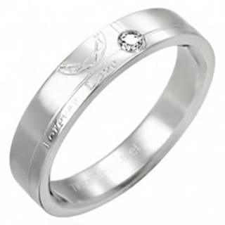Oceľový prsteň so zirkónom - Forever Love - Veľkosť: 51 mm