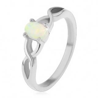 Oceľový prsteň striebornej farby, oválny syntetický opál, prekrížené ramená - Veľkosť: 49 mm