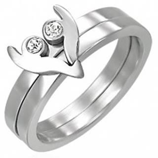 Oceľový prsteň z dvoch častí - srdiečko so zirkónmi - Veľkosť: 43 mm