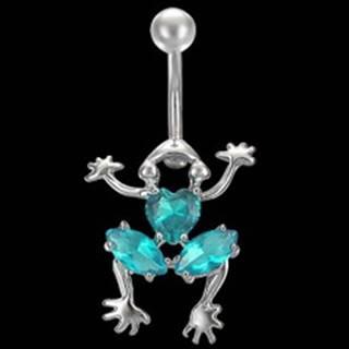 Piercing brucha lezúca žaba s farebnými zirkónmi - Farba zirkónu: Číra - C