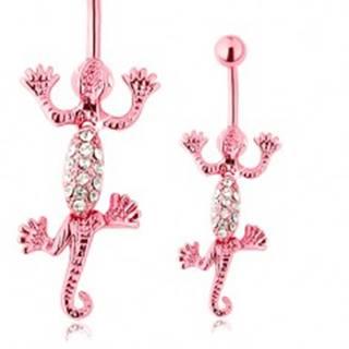 Piercing do brucha z chirurgickej ocele, ružová pohyblivá jašterica, číre zirkóny