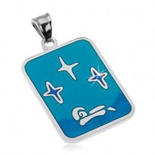 Prívesok z ocele 316L, glazúra v odtieňoch modrej farby, hviezdy a loďka