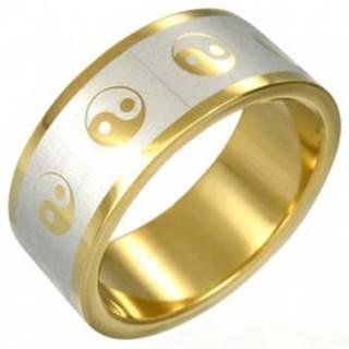 Prsteň Yin-Yang zlatej farby - Veľkosť: 54 mm