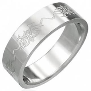 Prsteň z chirurgickej ocele s ornamentmi - Veľkosť: 51 mm