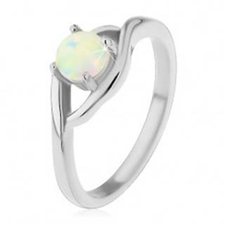 Prsteň z chirurgickej ocele striebornej farby, okrúhly syntetický opál, rozdelené ramená - Veľkosť: 49 mm