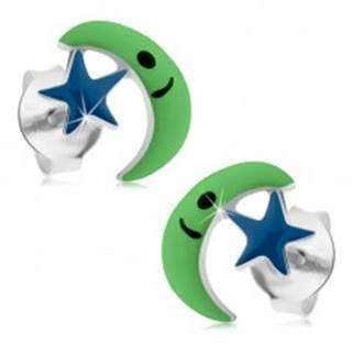 Puzetové náušnice zo striebra 925, zelený mesiac, modrá hviezda, glazúra