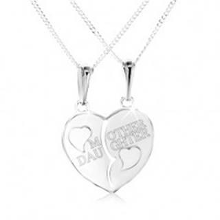 """Strieborný náhrdelník 925, rozpolené srdce s nápisom """"MOTHER DAUGHTER"""""""