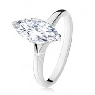 Strieborný prsteň 925, masívny zirkónový ovál v dekoratívnej objímke - Veľkosť: 48 mm