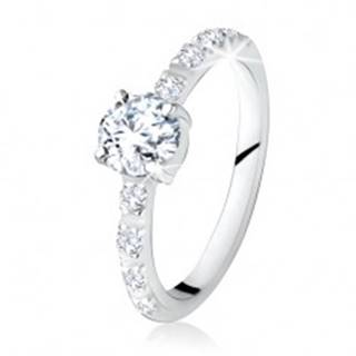 Strieborný prsteň 925, okrúhly číry kamienok, ramená zdobené zirkónmi - Veľkosť: 49 mm