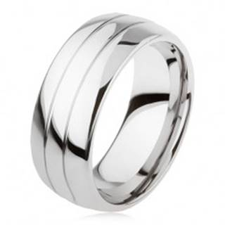 Tungstenový hladký prsteň, jemne vypuklý, lesklý povrch, dva zárezy - Veľkosť: 49 mm