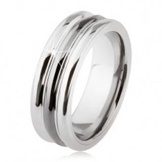 Wolfrámový prsteň s lesklým povrchom, dva zárezy, čierna a strieborná farba - Veľkosť: 54 mm