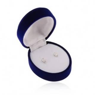 Zamatová oválna krabička na náušnice, prívesok alebo dva prstene, modrá farba