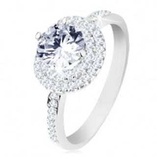 Zásnubný prsteň, striebro 925, dvojitý lem, okrúhly číry zirkón - Veľkosť: 50 mm