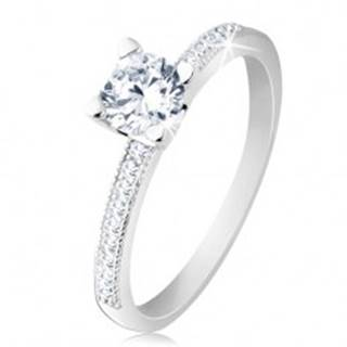 Zásnubný prsteň, striebro 925, ploché ramená, číry okrúhly zirkón - Veľkosť: 50 mm