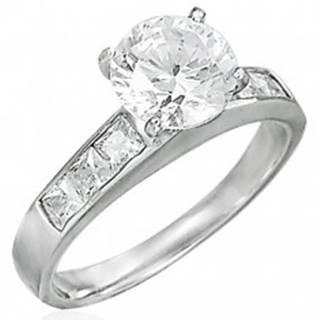 Zásnubný prsteň z ocele 316L, vystupujúci zirkón čírej farby - Veľkosť: 49 mm