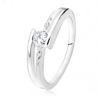 Zásnubný prsteň zo striebra 925, rozdvojené ramená, číry zirkón, guličky - Veľkosť: 49 mm