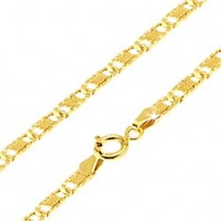 Zlatá retiazka 585 - ploché podlhovasté ryhované články, mriežka, 500 mm