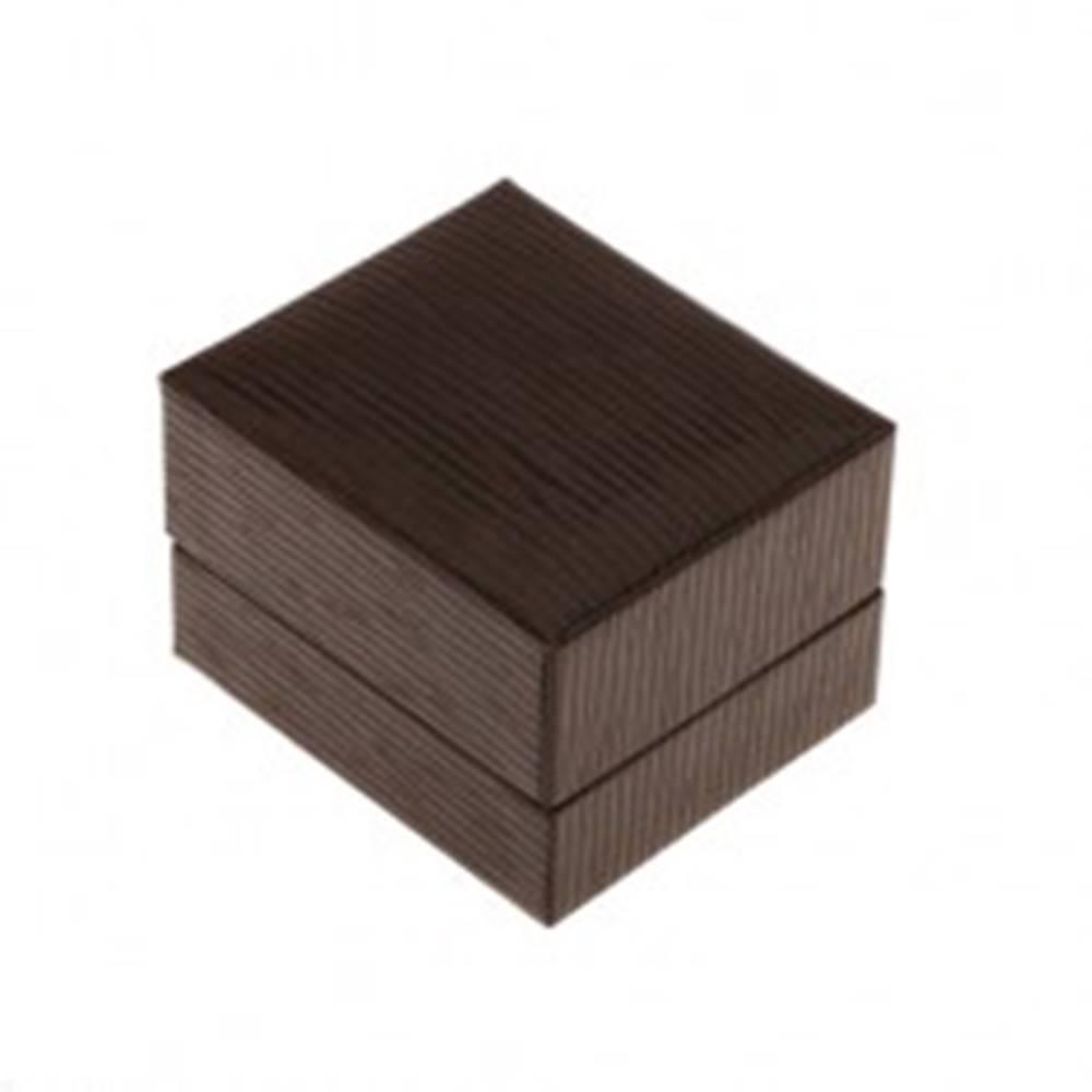 Šperky eshop Darčeková krabička na prsteň, prívesok alebo náušnice, tmavohnedá farba, ryhy