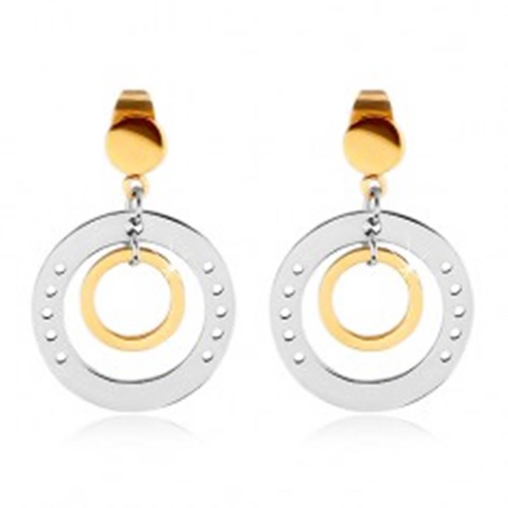Šperky eshop Dvojfarebné náušnice z ocele 316L, veľký kruh s dierkami a menším kruhom