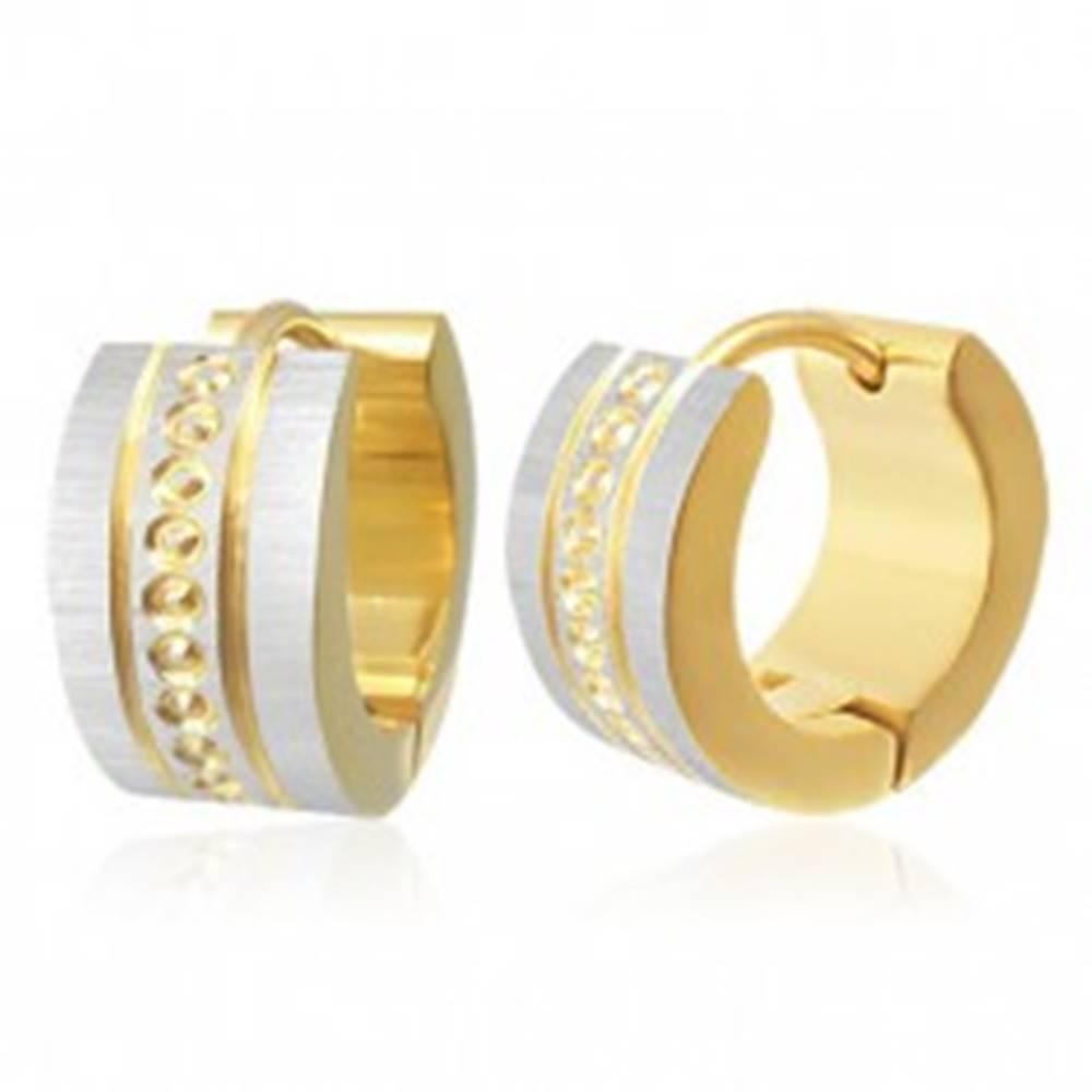 Šperky eshop Kĺbové oceľové náušnice - malé kruhy medzi zvislými líniách, saténový povrch