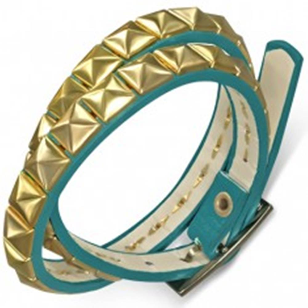 Šperky eshop Koženkový dvojitý náramok - modrý opasok s pyramídkami v zlatej farbe
