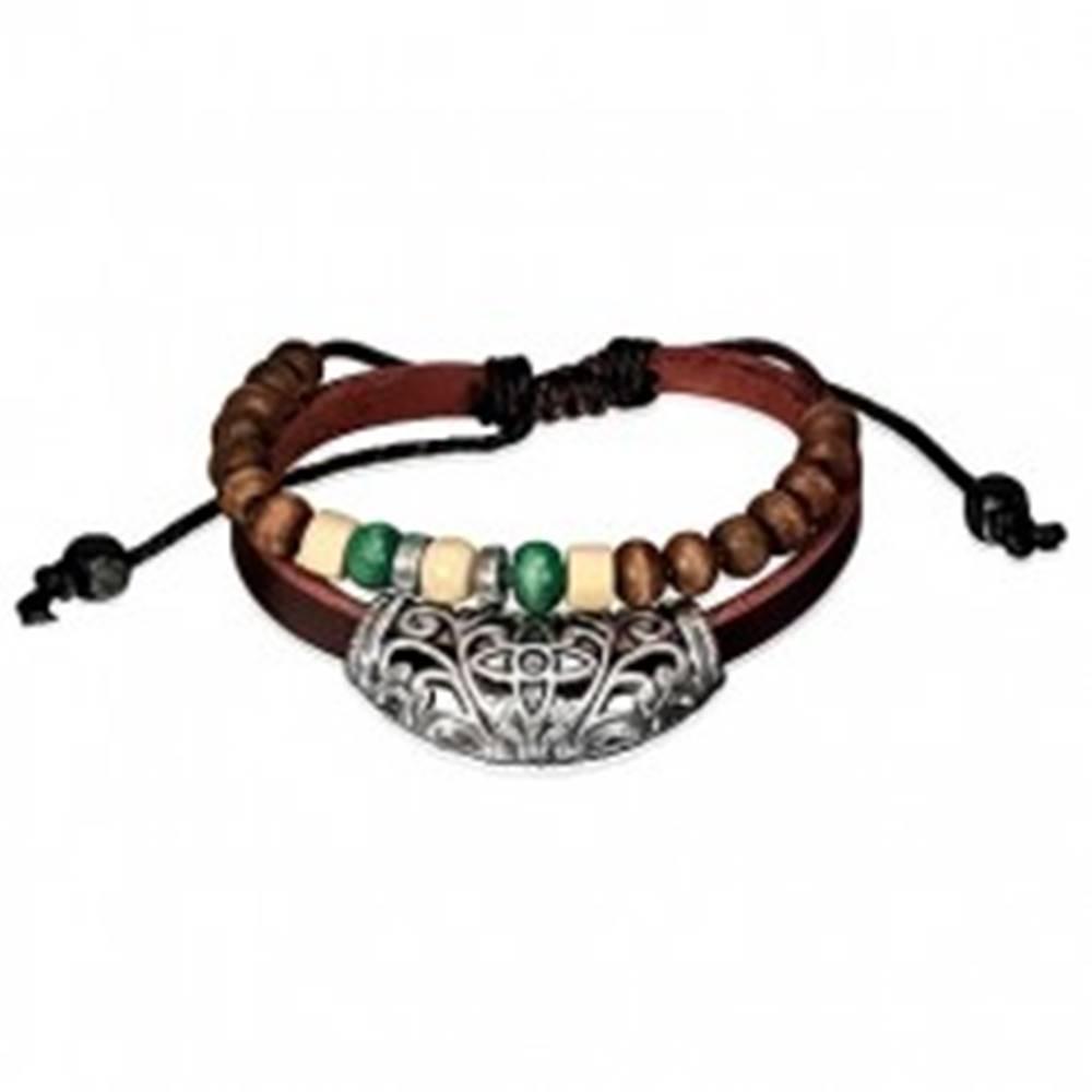 Šperky eshop Kožený náramok - ozdoba na páse, čierna šnúrka s korálkami