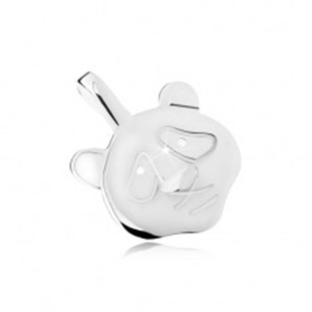 Šperky eshop Lesklý a plochý prívesok hlavy pandy, vypuklý nos, striebro 925