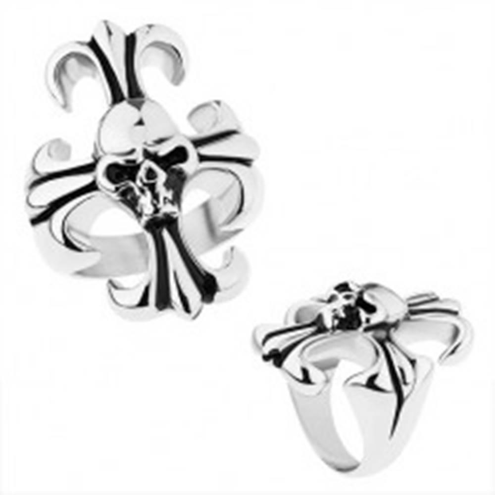 Šperky eshop Masívny prsteň z ocele 316L, strieborná farba, ľaliový kríž s lebkou - Veľkosť: 56 mm
