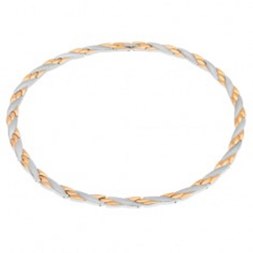 Šperky eshop Náhrdelník z ocele, šikmé línie zlatej a striebornej farby, hadí vzor, magnety
