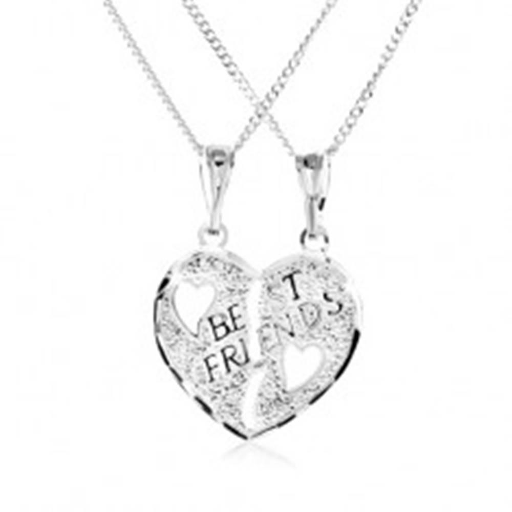 Šperky eshop Náhrdelník zo striebra 925 - dvojprívesok, prelomené srdce, nápis BEST FRIENDS