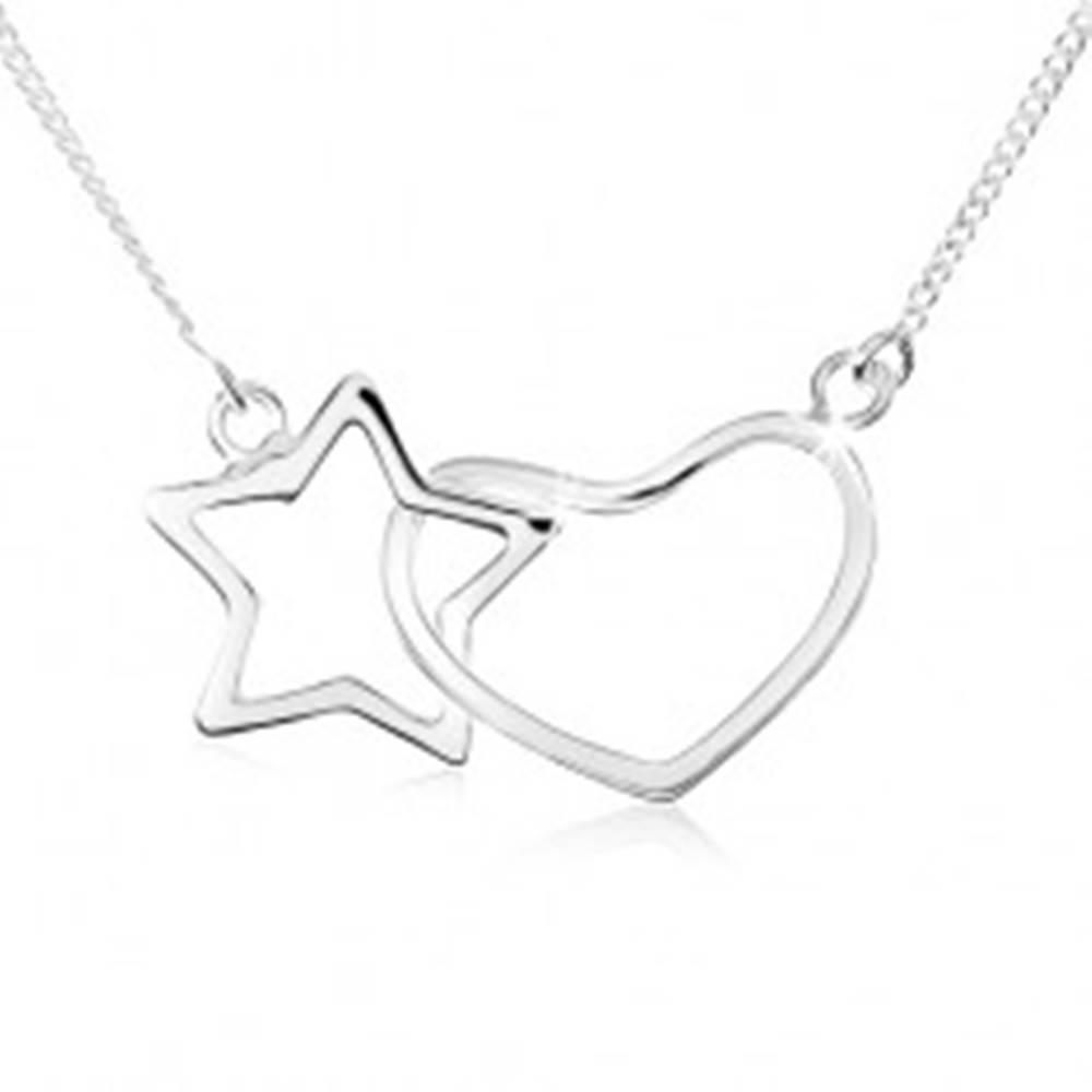 Šperky eshop Náhrdelník zo striebra 925, kontúra hviezdy a symetrického srdca