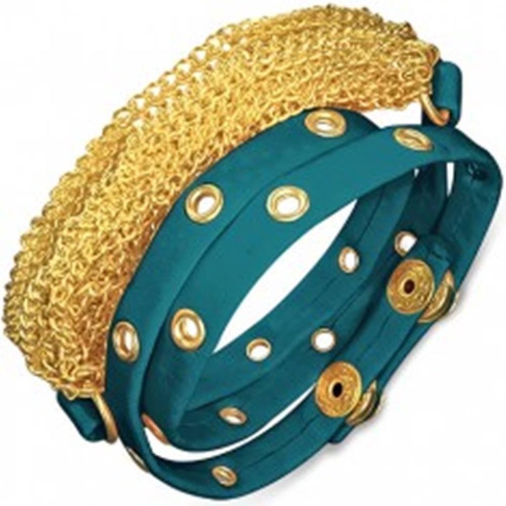 Šperky eshop Náramok z kože - vybíjaný modrý pás a retiazky