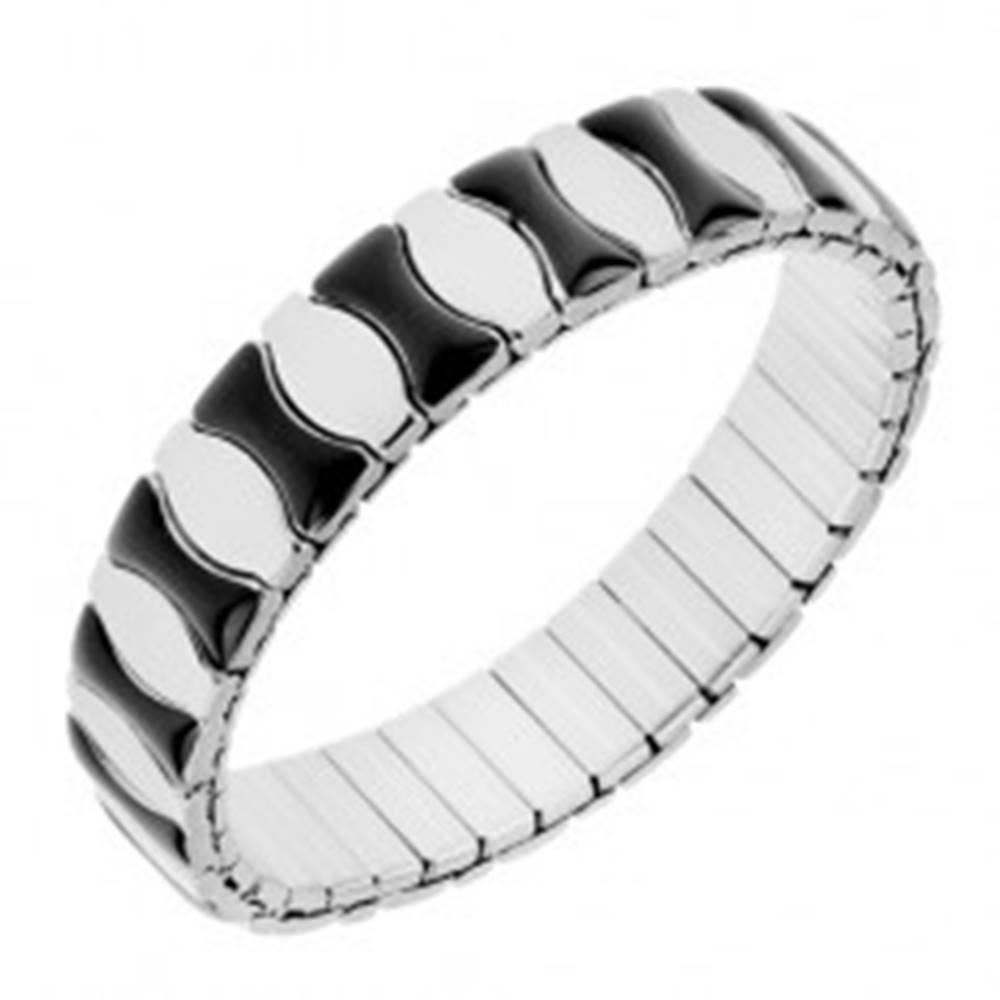Šperky eshop Náramok z ocele, rozťahovací, lesklé články čiernej a striebornej farby